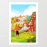 animal crossing Art Prints featuring Animal Crossing by Sama Ma