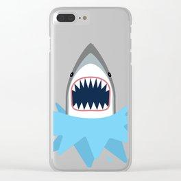 Cartoon Shark Splash Clear iPhone Case