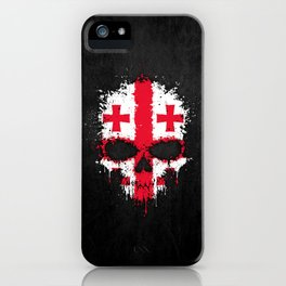 Flag of Georgia on a Chaotic Splatter Skull iPhone Case