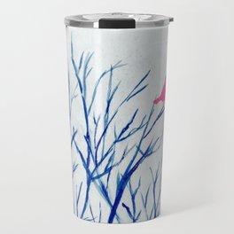Perching bird on winter tree Travel Mug
