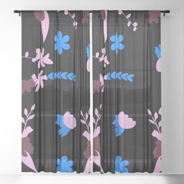 Whirling Flowers Sheer Curtain