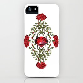 Birth Stone & Flower Print/JANUARY iPhone Case