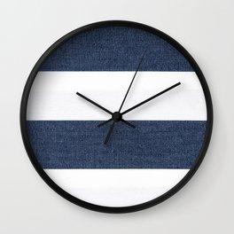 Nautical Blue & White Stripes Wall Clock