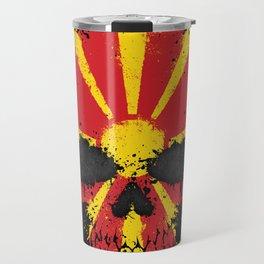 Flag of Macedonia on a Chaotic Splatter Skull Travel Mug