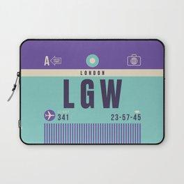 Retro Airline Luggage Tag - LGW London Gatwick England Laptop Sleeve