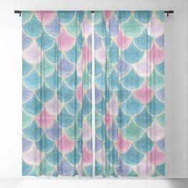 Glittery Mermaid Scales Sheer Curtain
