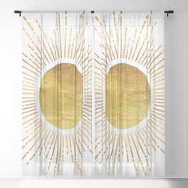 Golden Sunburst Starburst White Hot Sheer Curtain