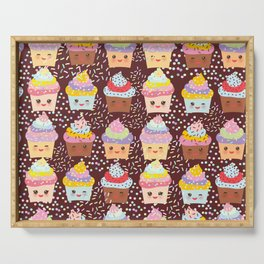 Cupcake Kawaii funny muzzle with pink cheeks and winking eyes Serving Tray