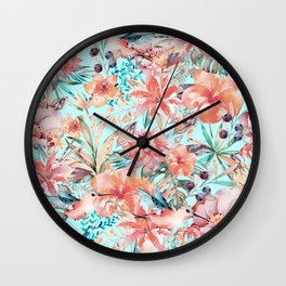 Tropical Jungle Flowers And Birds In Soft Pastels Wall Clock