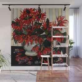 """Coral Flowers"" by Australian Artist Margaret Preston Wall Mural"