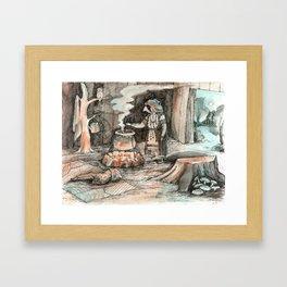 Forest witch's hut Framed Art Print