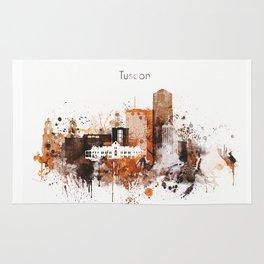 Brown Watercolor Tucson watercolor skyline Rug