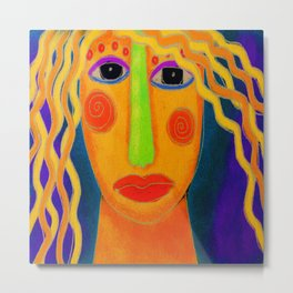 Blonde Abstract Digital Portrait of a Woman Metal Print