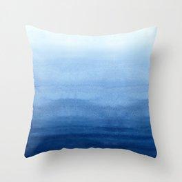Blue Watercolor Ombré Throw Pillow