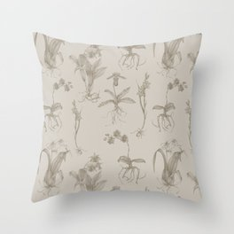 Orchid All-Over Pattern Tan Throw Pillow