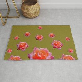 RAINING ANTIQUE PINK ROSE FLOWERS AVOCADO COLOR Rug