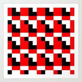 Red black step pattern Art Print