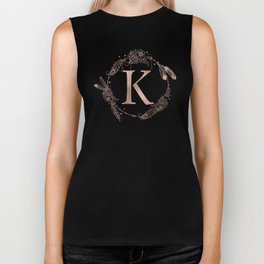 Letter K Rose Gold Pink Initial Monogram Biker Tank
