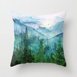 Spring Mountainscape Throw Pillow