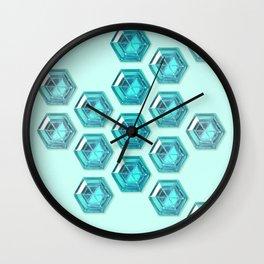 Cyan Gradient Hexagon Gemstones Wall Clock