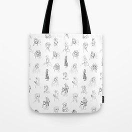 Sketched Girls Tote Bag