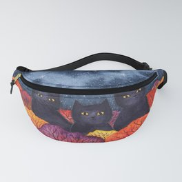 Three Black Cats in Autumn Watercolor Fanny Pack