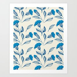 Doodle flowers in blue 3 Art Print