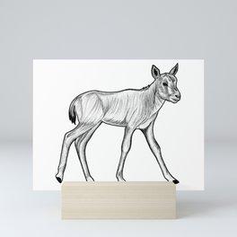 Arabian oryx calf - ink illustration Mini Art Print