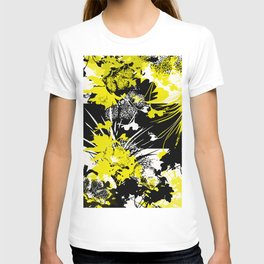 tropical flower silhouette in yellow T-shirt
