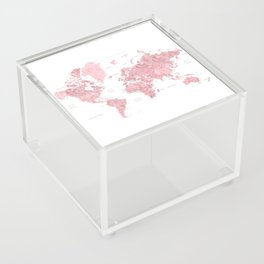 Light pink watercolor world map with cities, square Acrylic Box