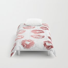 Fashion Lips Rose Gold Lipstick on Marble Comforters
