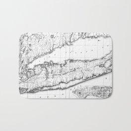 Vintage Map of Long Island New York (1842) BW Bath Mat
