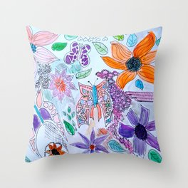 Flower Sketches 3 Throw Pillow