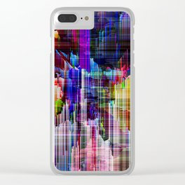 glitchy rainbow m Clear iPhone Case