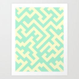 Cream Yellow and Magic Mint Green Diagonal Labyrinth Art Print