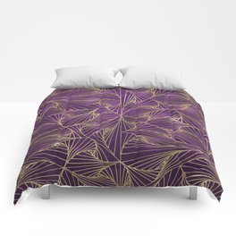 Tangles Violet and Gold Comforters