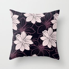 Black and pink autumn dahlia flowers Throw Pillow