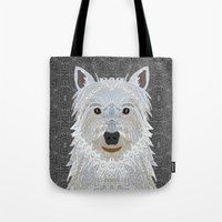 westie Tote Bags featuring Westie by ArtLovePassion