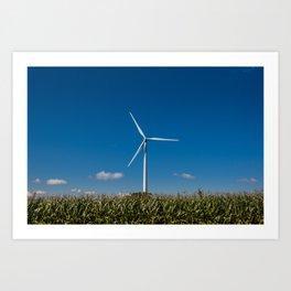 Windmill in a cornfield Art Print