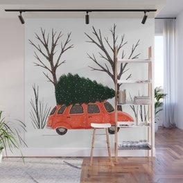 Driving Home For Christmas Vintage Illustration Wall Mural