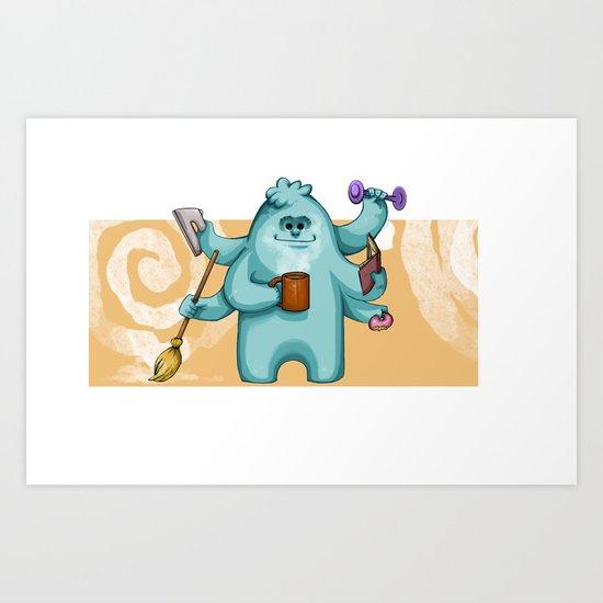 Multitasking Monster Art Print