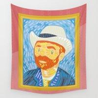 van gogh Wall Tapestries featuring Selfie Van Gogh by Alapapaju