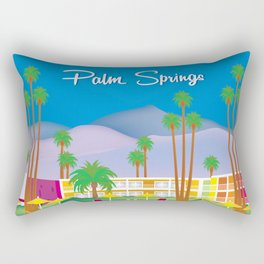 Palm Springs, California - Skyline Illustration by Loose Petals Rectangular Pillow