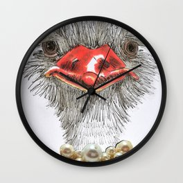 Ostrich with double pearls Wall Clock