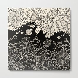 FLOWERS EBONY AND IVORY Metal Print