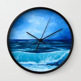 Lit Ocean Shore Wall Clock