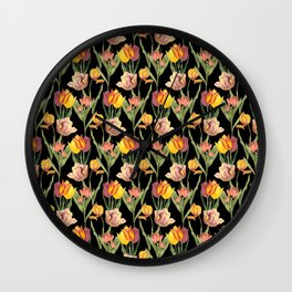 Vintage Floral Pattern | No. 3A | Tulips Wall Clock