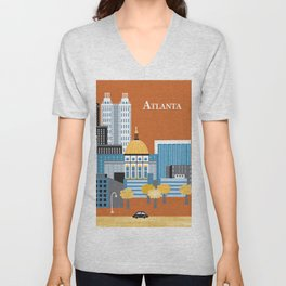 Atlanta, Georgia - Skyline Illustration by Loose Petals Unisex V-Neck