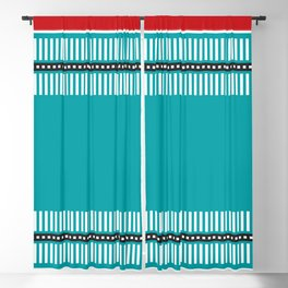 Geometric Pattern 202 (red and teal) Blackout Curtain