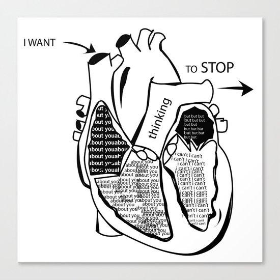 Typography Heart Canvas Print